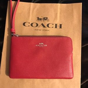 NWT Authentic Coach Wristlet Red